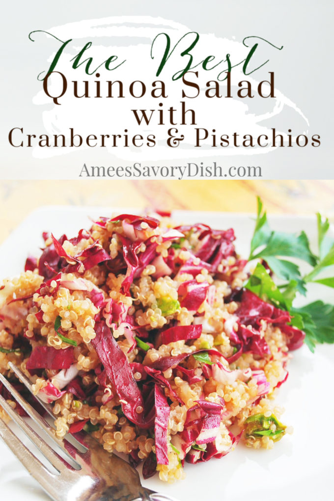 This delicious healthy quinoa salad recipe is full of flavor and great textures with a sweet and savory flavor profile. Makes a great side dish!