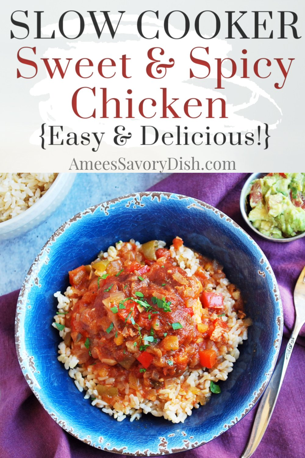 A sweet and spicy Crockpot chicken recipe made with chunky salsa, all-fruit preserves, peppers, herbs, and spices for a simple and delicious weeknight meal. #slowcookerchicken #crockpotchicken #easychickenrecipe #chickenrecipe #mexicanchicken via @Ameecooks