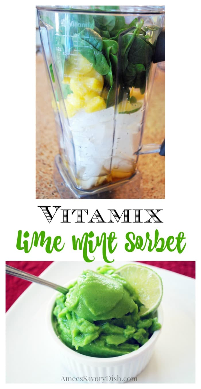 An easy recipe for Vitamix sorbet using fresh lime juice, pineapple, banana, mint, and spinach whipped up in flash in a Vitamix blender.
