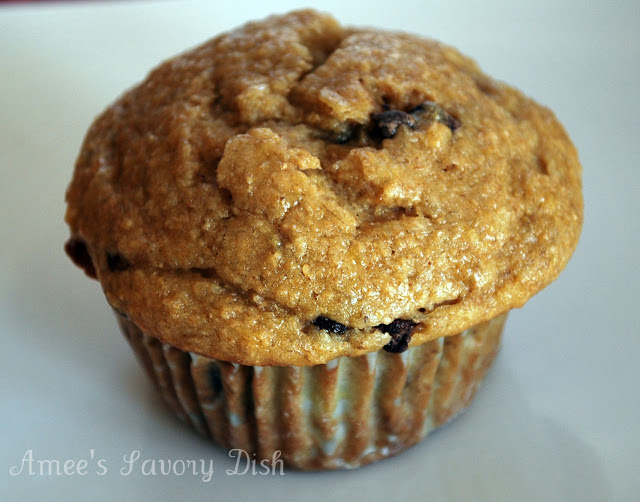 healthier chocolate chip banana muffins