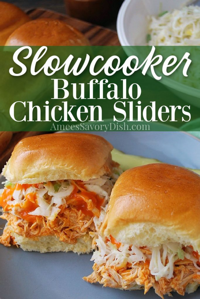 buffalo sliders on a plate with hot sauce and slaw with font overlay for Pinterest