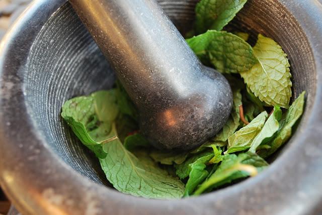 muddled fresh mint