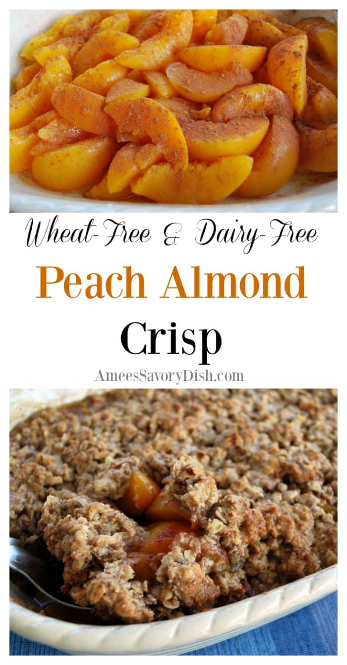 A delicious and simple recipe for gluten free peach crisp with almonds made with whole grain oats, flax, peaches, almonds and organic coconut oil. This easy peach crisp recipe is also Vegan and dairy free. via @Ameecooks