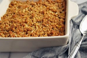 Cooked peach crisp in a baking dish