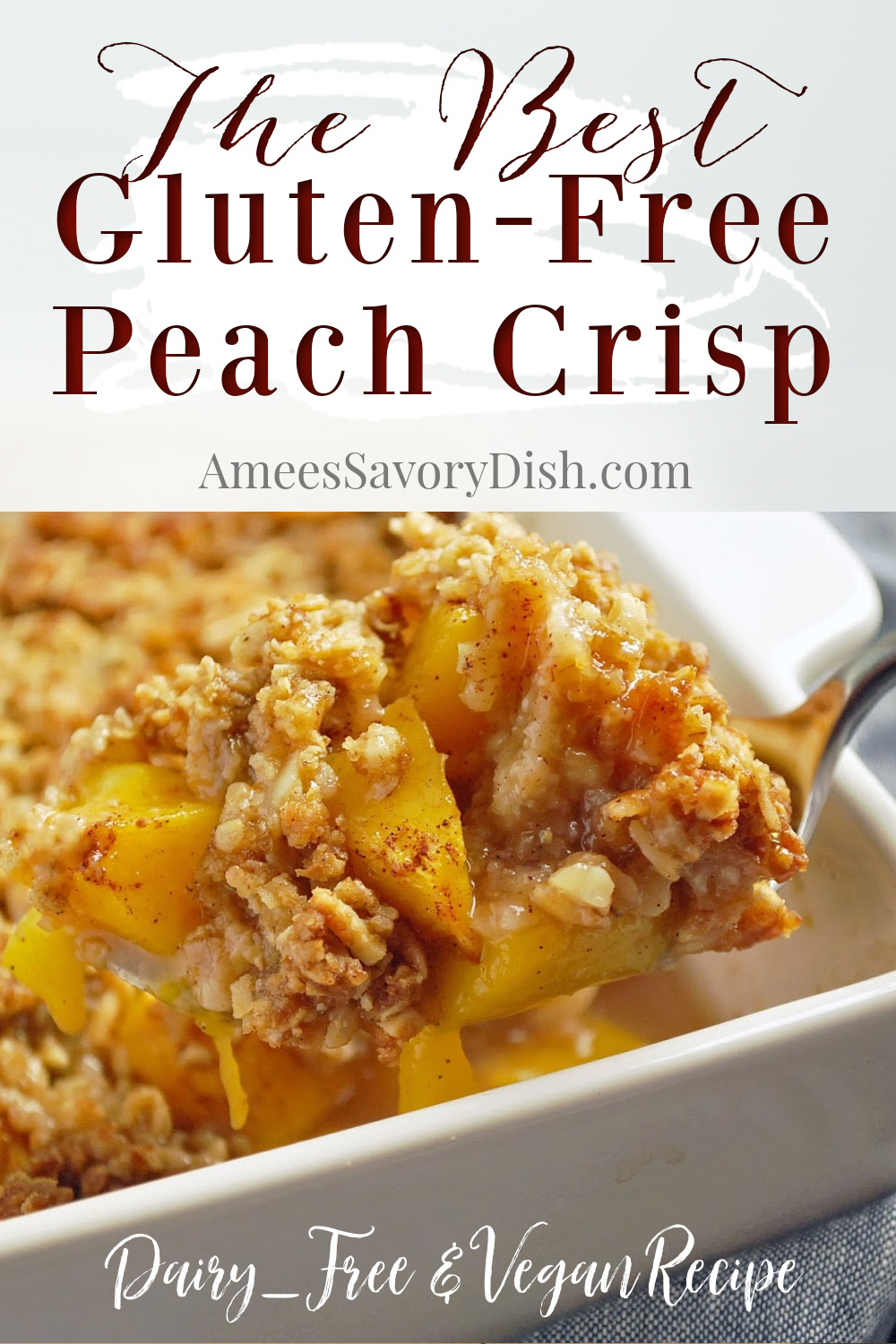 A delicious and simple recipe for gluten-free peach crisp with almonds made with whole grain oats, flax, peaches, almonds and organic coconut oil. This easy peach crisp recipe is also Vegan and dairy-free. #peachcrisp #veganfruitcrisp #dairyfreedessert #glutenfreecrisp #glutenfreedessert #peachdessert via @Ameessavorydish