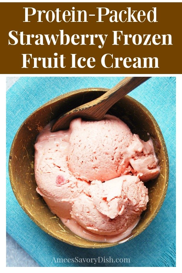 A tasty easy blender recipe for easy strawberry banana frozen fruit ice cream that's packed with muscle-building protein & incredibly delicious! #icecream #frozenfruiticecream #proteindesserts via @Ameecooks