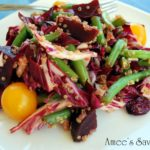 marinated beet and bean salad on a plate