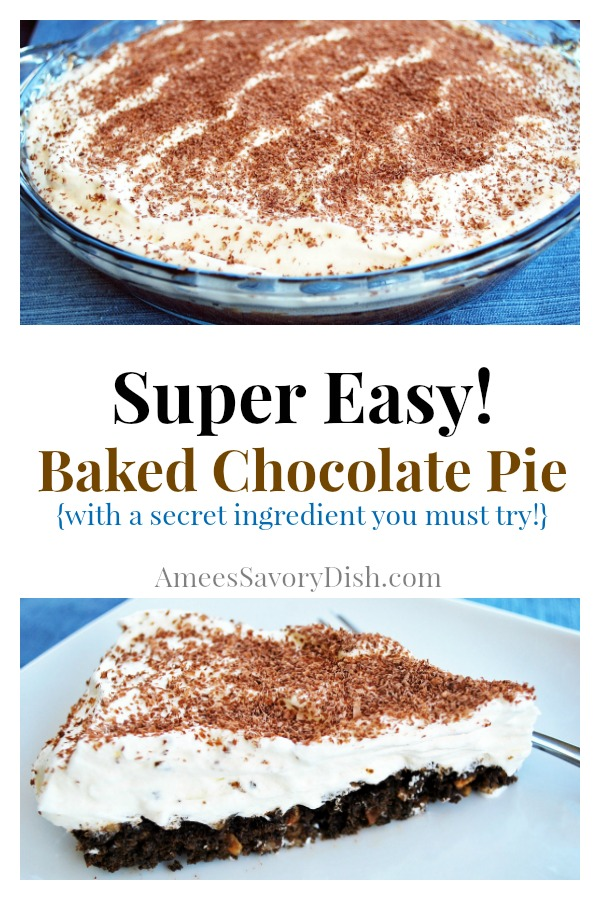 An easy baked chocolate pie recipe made with chocolate wafer cookies, hazelnuts, egg whites and whipped topping.  It might just become your new summer favorite pie!