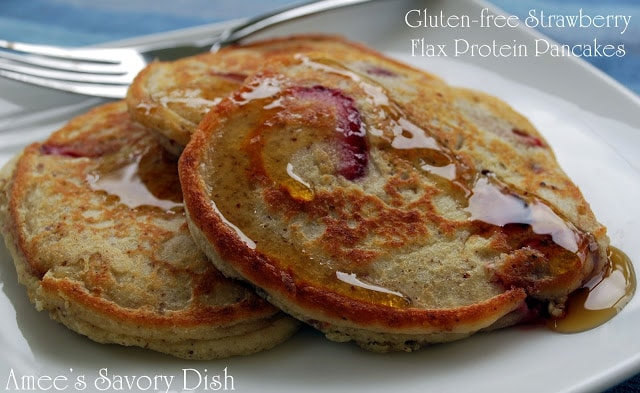 Gluten Free Strawberry Flax Pancakes