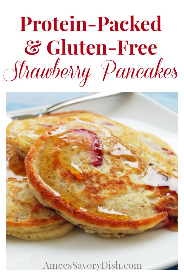 A light and fluffy recipe for gluten-free strawberry pancakes made with fresh berries, unflavored protein powder, and ground golden flaxseed.
