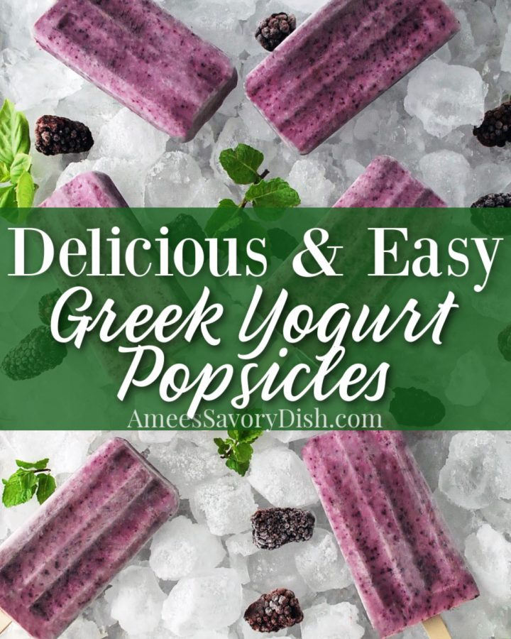 Greek yogurt popsicles on a tray of ice with font overlay