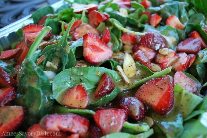 Strawberry Spinach Salad with Agave Poppy Seed Dressing