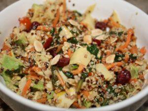 Tri Color Quinoa Salad with fresh veggies, avocado, cranberries, and almonds