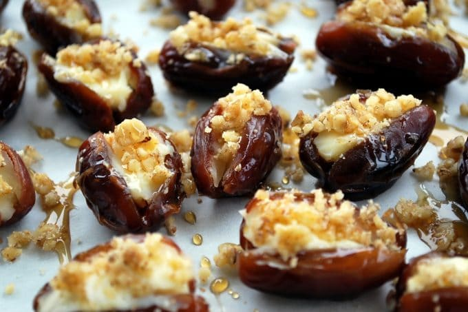 Mascarpone Stuffed Dates with Maple Drizzle