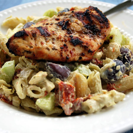 Greek chicken with penne pasta salad