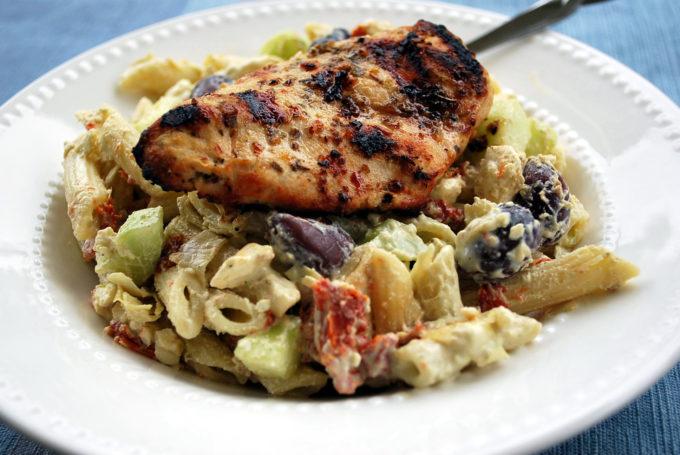 Greek chicken with penne pasta salad