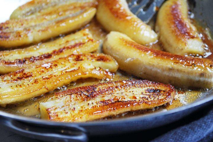 bananas caramelized in a skillet
