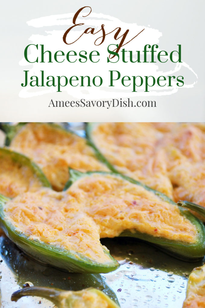 These baked cheese stuffed jalapeno peppers are delicious as an appetizer or game day snacks. Hot peppers are stuffed with a mixture of spicy cheddar cheese and cream cheese, then baked until the peppers are soft and the cheese is melted and golden brown.