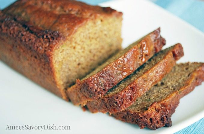 A gluten free zucchini bread recipe that uses a blend of chia seed flour, protein powder and gluten free baking mix.