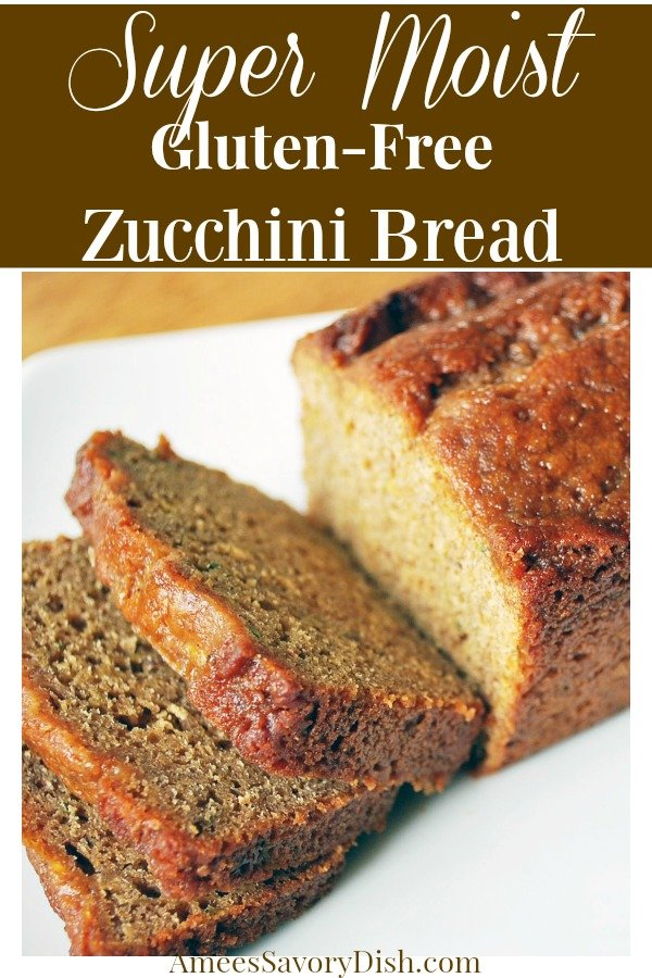 A gluten free zucchini bread recipe that uses a blend of chia seed flour, protein powder and gluten free baking mix to create a tasty and moist quick bread. via @Ameessavorydish