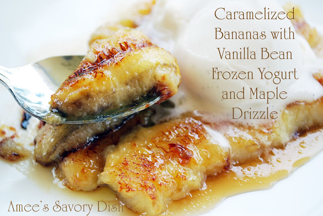 Caramelized bananas with vanilla bean frozen yogurt and maple drizzle is a delicious healthy dessert option! This clean eating dessert recipe is perfect for summer!