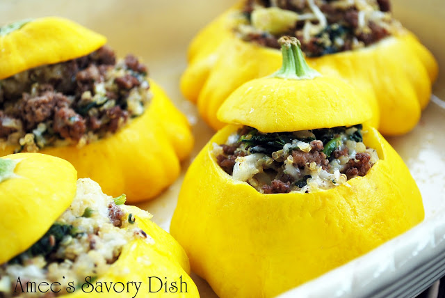 Stuffed Patty Pan Squash with Quinoa, Grass Fed Beef and Spinach