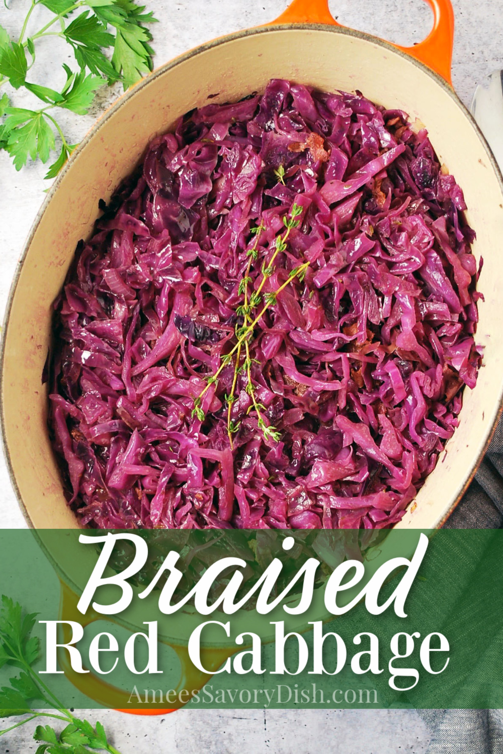Easy Braised red cabbage is a simple side dish recipe made with onions, bacon, beef stock, wine, and vinegar.  Not to mention, loaded with flavor! via @Ameecooks