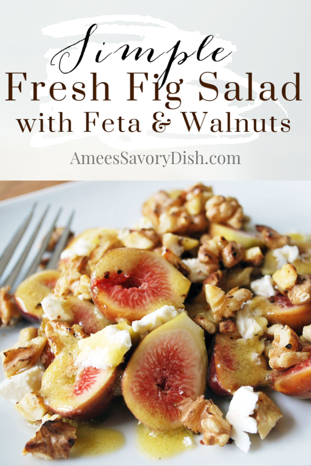 A simple and delicious fig salad recipe made with crumbled feta cheese, toasted walnuts and tossed with a dijon vinaigrette.  This easy side salad is the perfect way to enjoy ripe fresh figs! via @Ameessavorydish