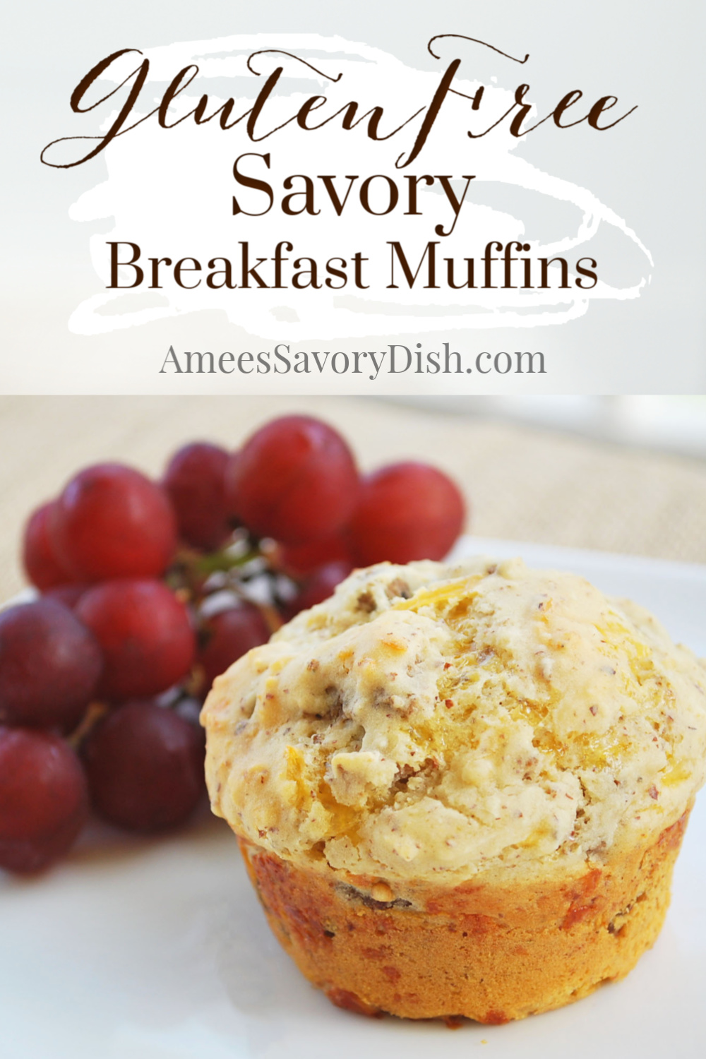 A fluffy and flavorful savory gluten-free muffin recipe made with gluten-free baking mix, crumbled sausage, and sharp cheddar cheese. These savory muffins are perfect for breakfast or a filling snack. via @Ameessavorydish