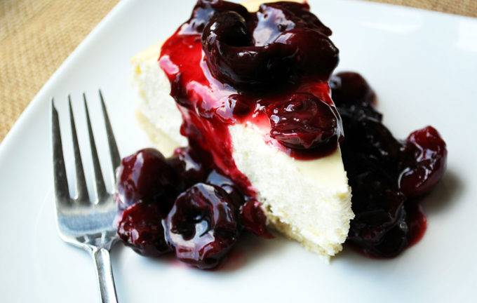 Lemon Cheesecake with Fresh Cherry Compote