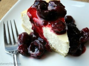 Lemon Cheesecake with Cherry Compote