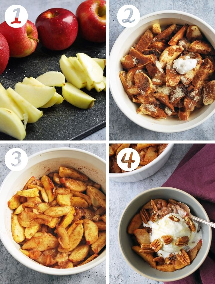 4 step by step photos to make baked apples: apples sliced, in a bowl with toppings, cooked, and served with ice cream