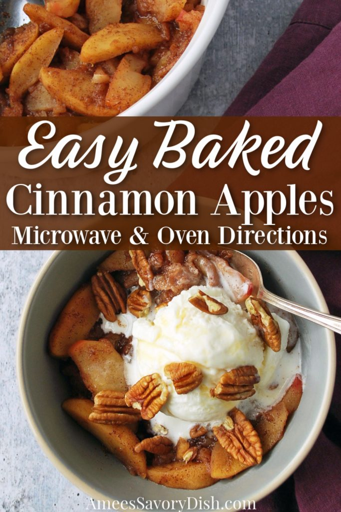 overhead photo of bowl of baked apples with ice cream and pecans with text overlay for Pinterest