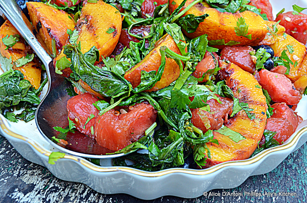 Grilled fruit salad is a delicious and healthy side dish. Grilling fruit in a cast iron skillet gives it tremendous flavor!