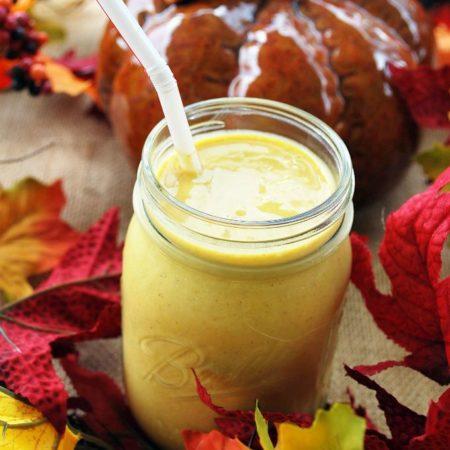 pumpkin protein shake in a mason jar