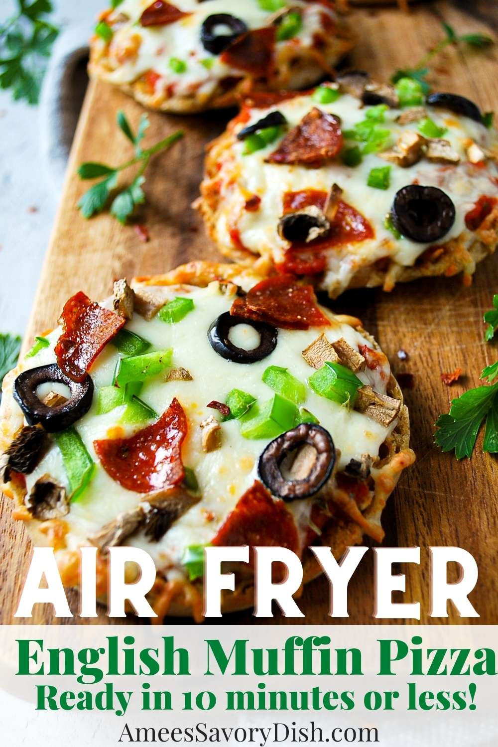 A simple and tasty loaded Air Fryer English Muffins Pizza recipe that's on the table in 10 minutes or less with 20 grams of protein per serving. via @Ameessavorydish
