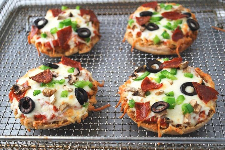 English muffin pizzas right out of the air fryer