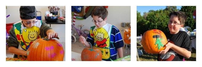 Allen painting pumpkins for Halloween