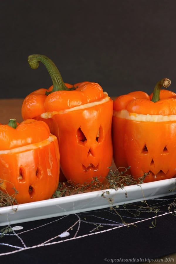 Jack O' Lantern Shepherd's Pie Stuffed Peppers from Cupcakes and Kale Chips