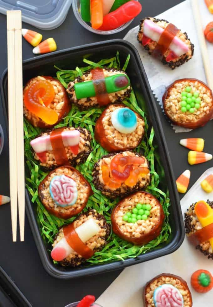 Halloween candy sushi