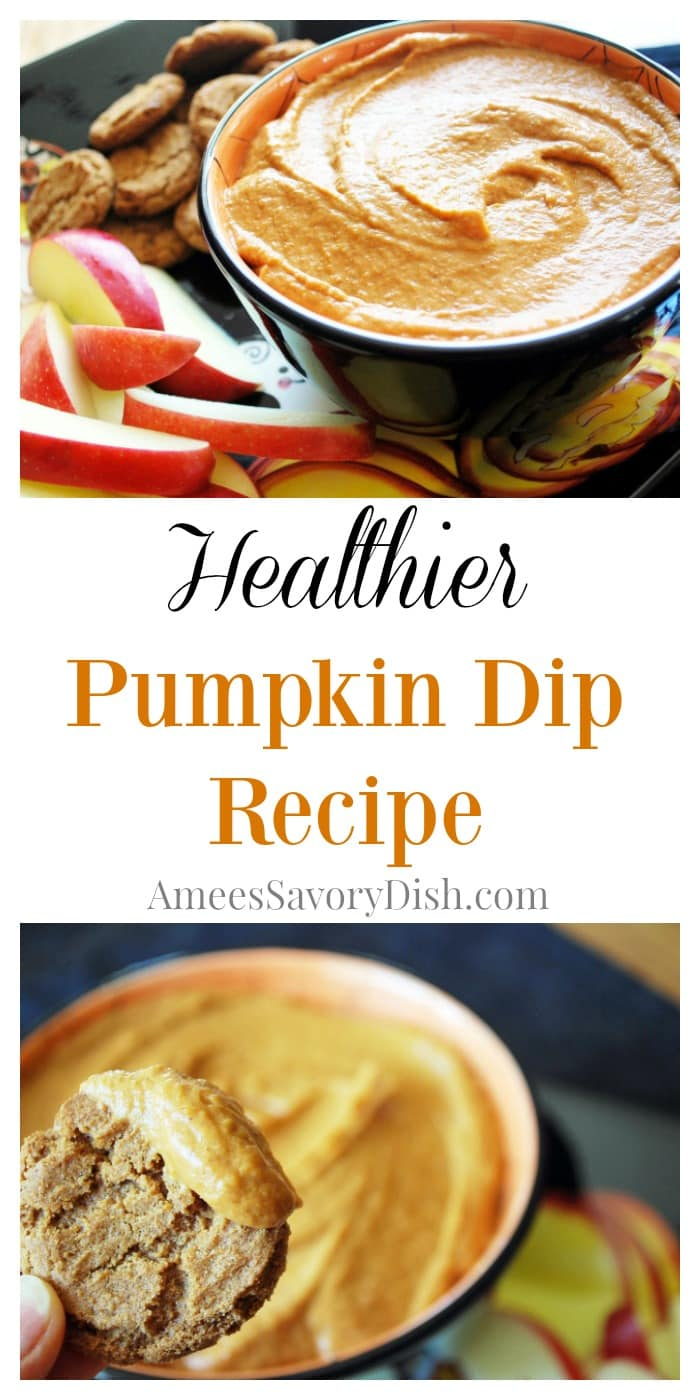 This healthier Pumpkin Dip made with pumpkin puree, coconut sugar, cream cheese, and spices is simple and delicious.  You can serve it as an appetizer or healthier dessert alternative. via @Ameecooks