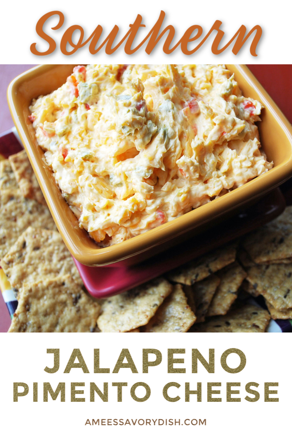 A recipe for jalapeño pimento cheese, a spicy twist on a southern classic. You can leave out the jalapeños for a classic version of this tasty spread. via @Ameessavorydish