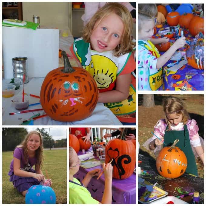 Lauren painting pumpkins for Halloween