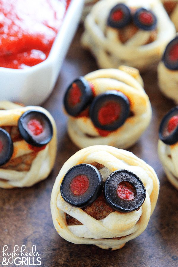Meatball mummies on a tray