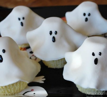 Ghost Cupcakes on a platter