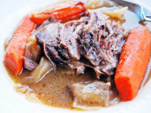 An easy and delicious recipe for slow cooker Grassfed Beef Roast that's tender, juicy and full of amazing flavor