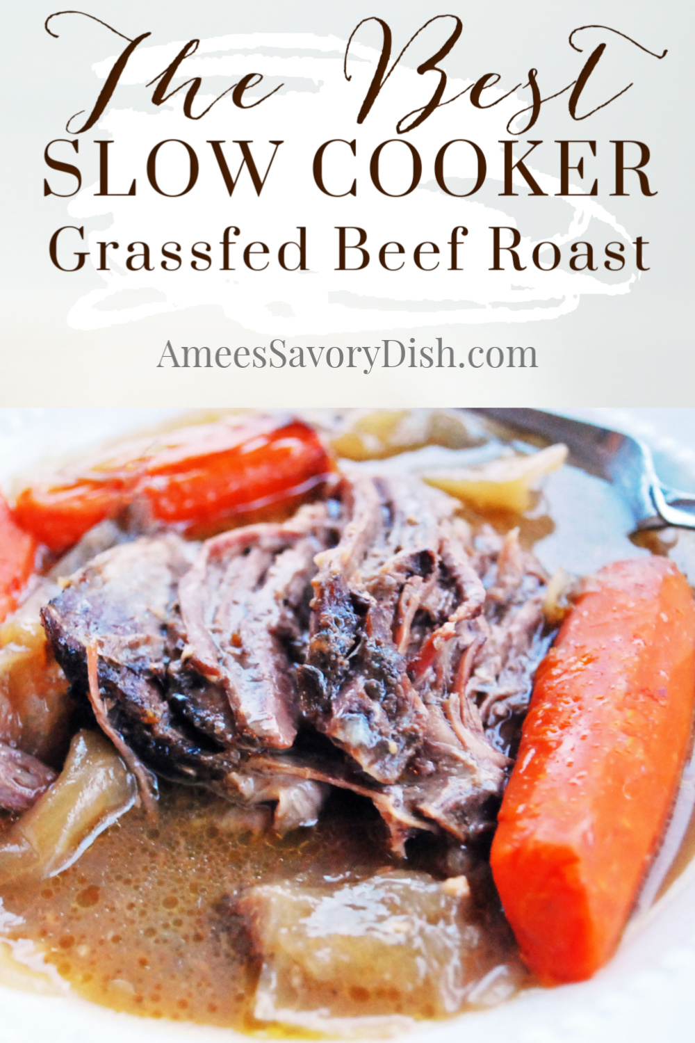 An easy and delicious recipe for Crockpot Grassfed Beef Roast that's tender, juicy and full of amazing flavor. via @Ameecooks