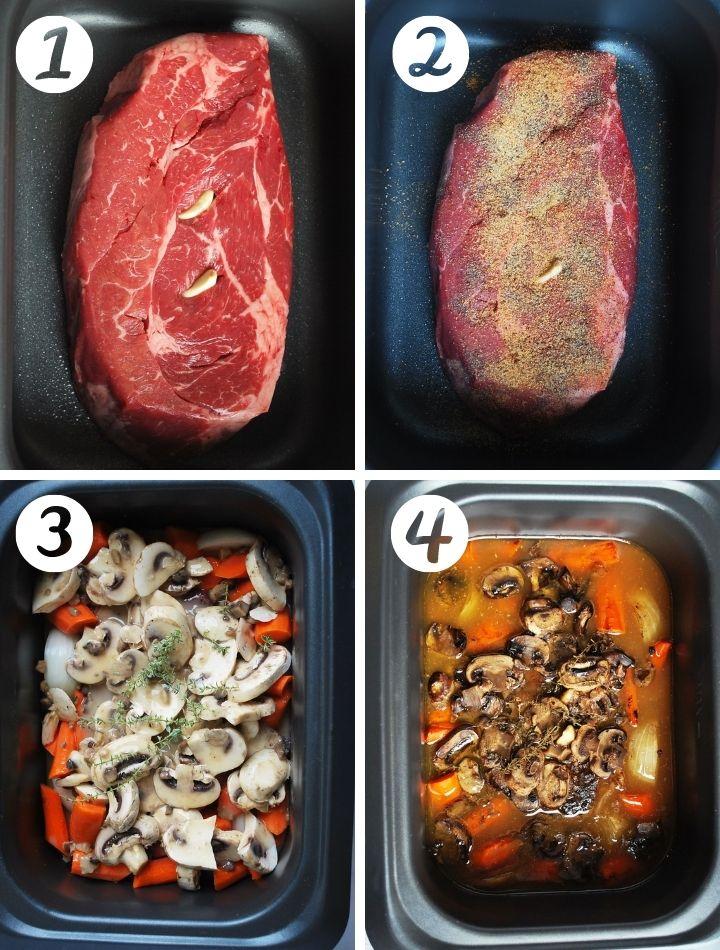 step by step photo of making beef roast: roast in pot, seasoned roast, ingredients poured on top
