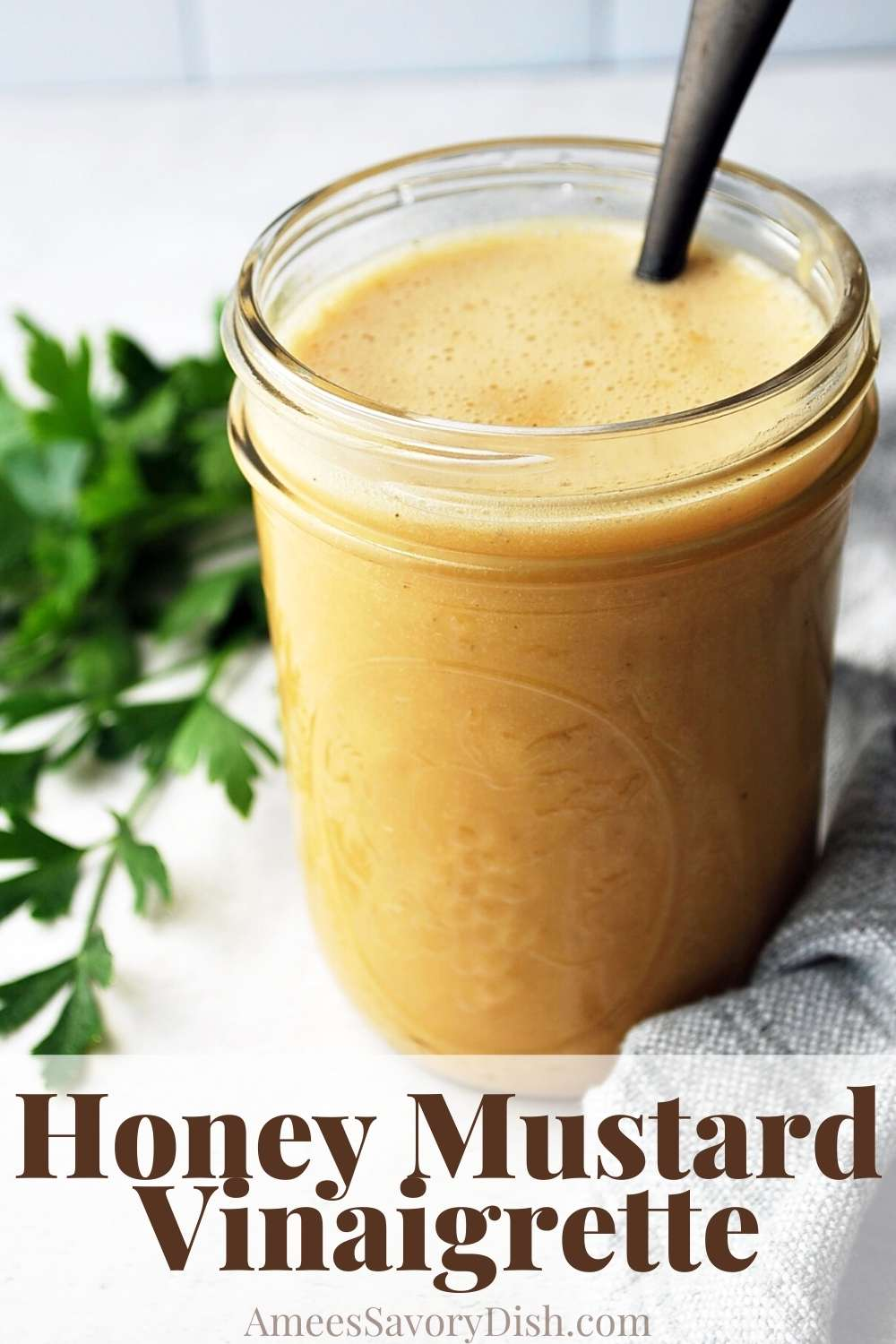 A simple and flavorful honey mustard vinaigrette dressing that's incredibly easy to make with only five simple ingredients! via @Ameessavorydish