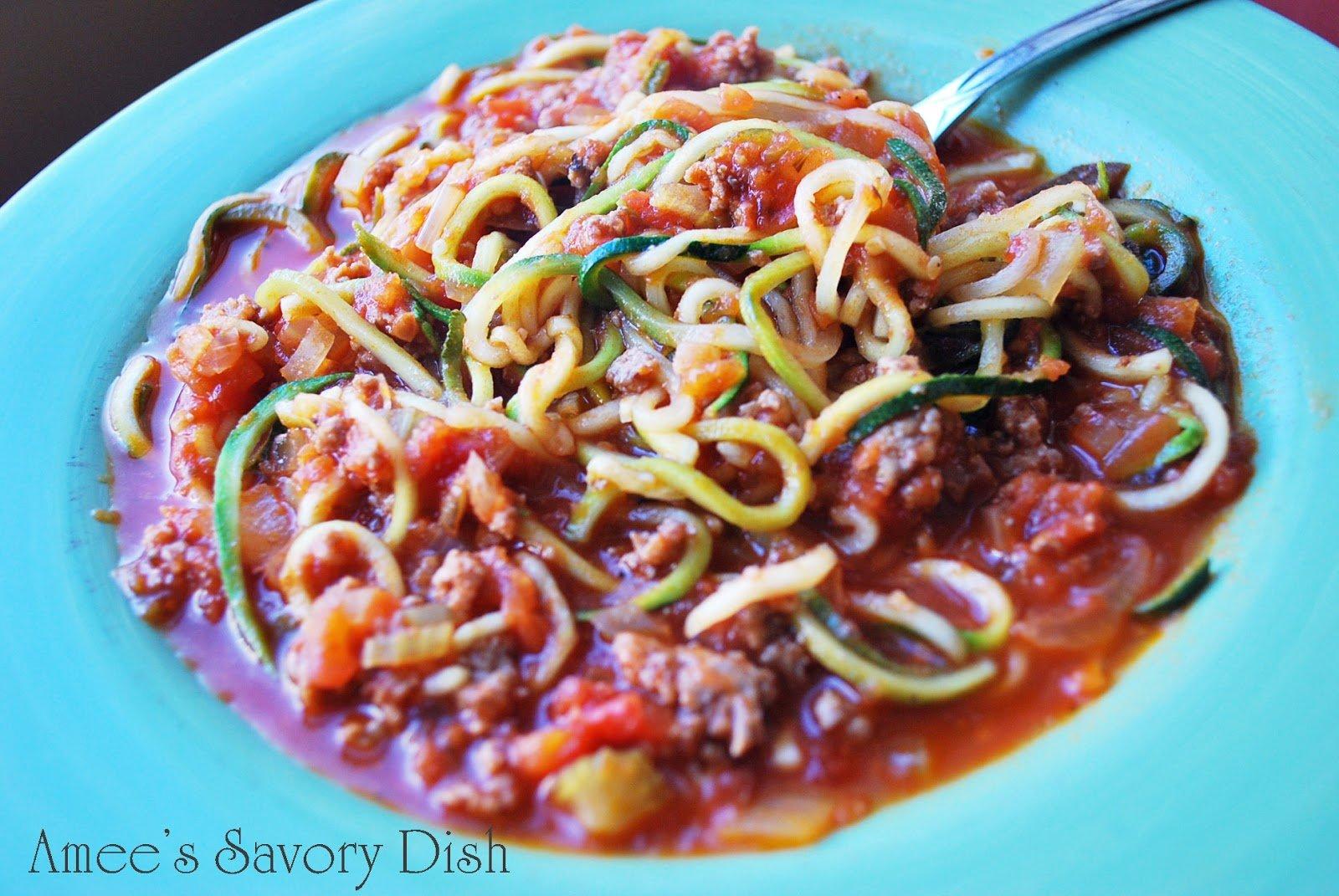 Easy zucchini spaghetti recipe amee 39 s savory dish - Comment cuisiner courgette spaghetti ...